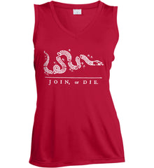 Join or Die. White Print. Women's: Sport-Tek Ladies' Sleeveless Moisture Absorbing V-Neck.