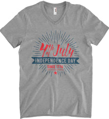 4th of July. Independence Day Since 1776. Anvil Men's Printed V-Neck T-Shirt.