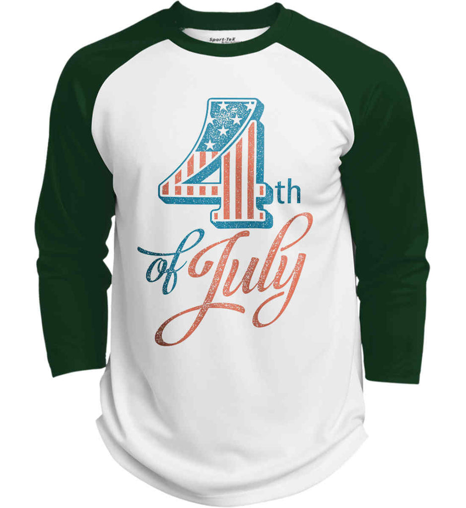 4th of July. Faded Grunge. Sport-Tek Polyester Game Baseball Jersey.-4