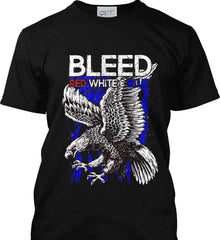 BLEED Red, White & Blue. Eagle on Flag. Port & Co. Made in the USA T-Shirt.