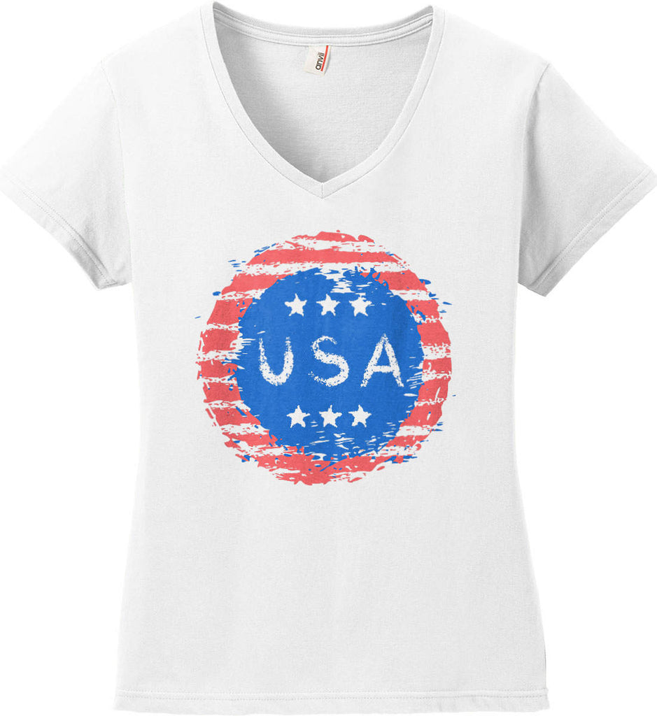 Grungy USA. Women's: Anvil Ladies' V-Neck T-Shirt.-2