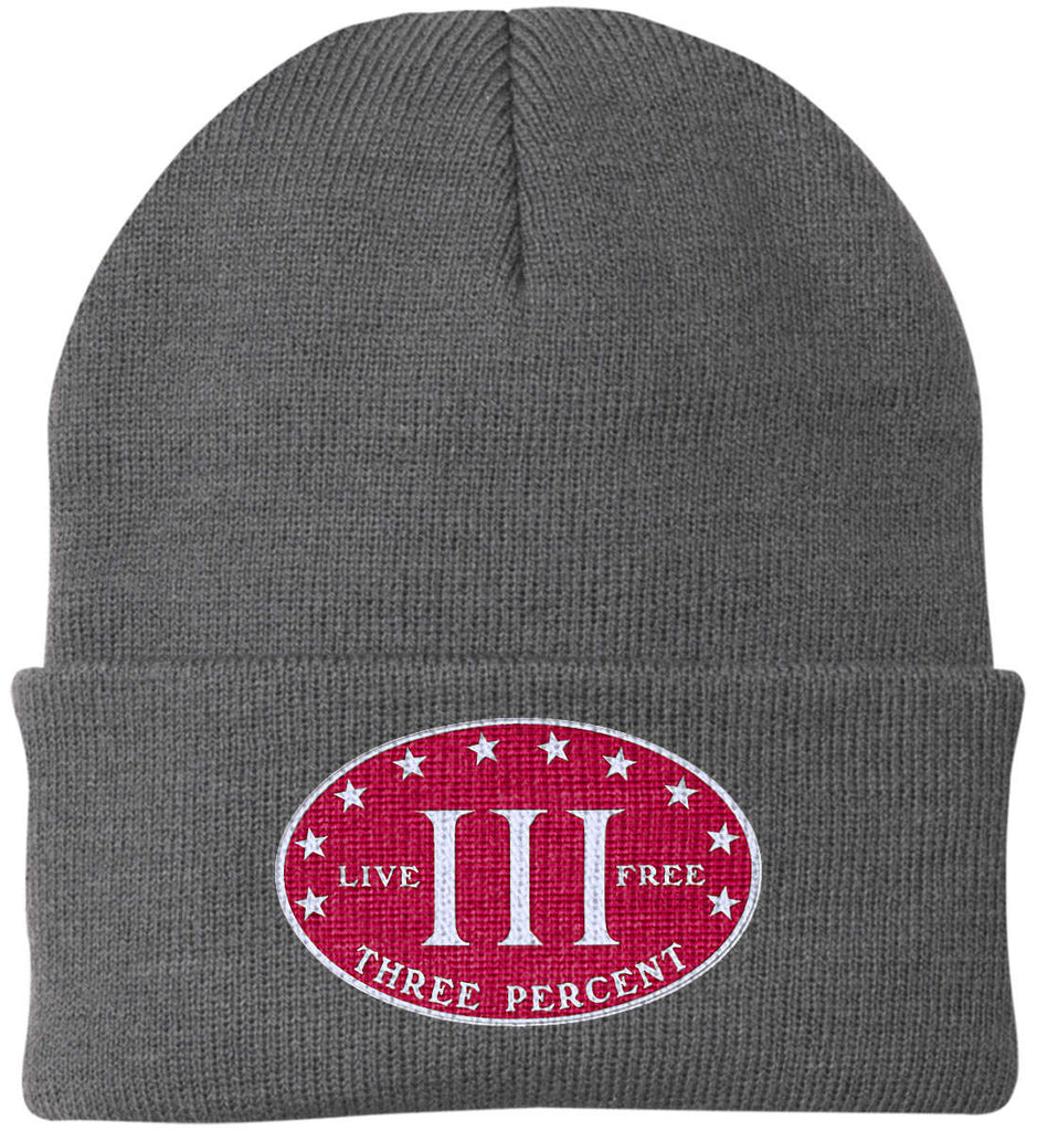 Three Percenter. Live Free. Hat. Port Authority Knit Cap. (Embroidered)-1