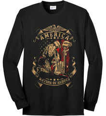 America A Nation of Heroes. Kneeling Soldier. Port & Co. Long Sleeve Shirt. Made in the USA..
