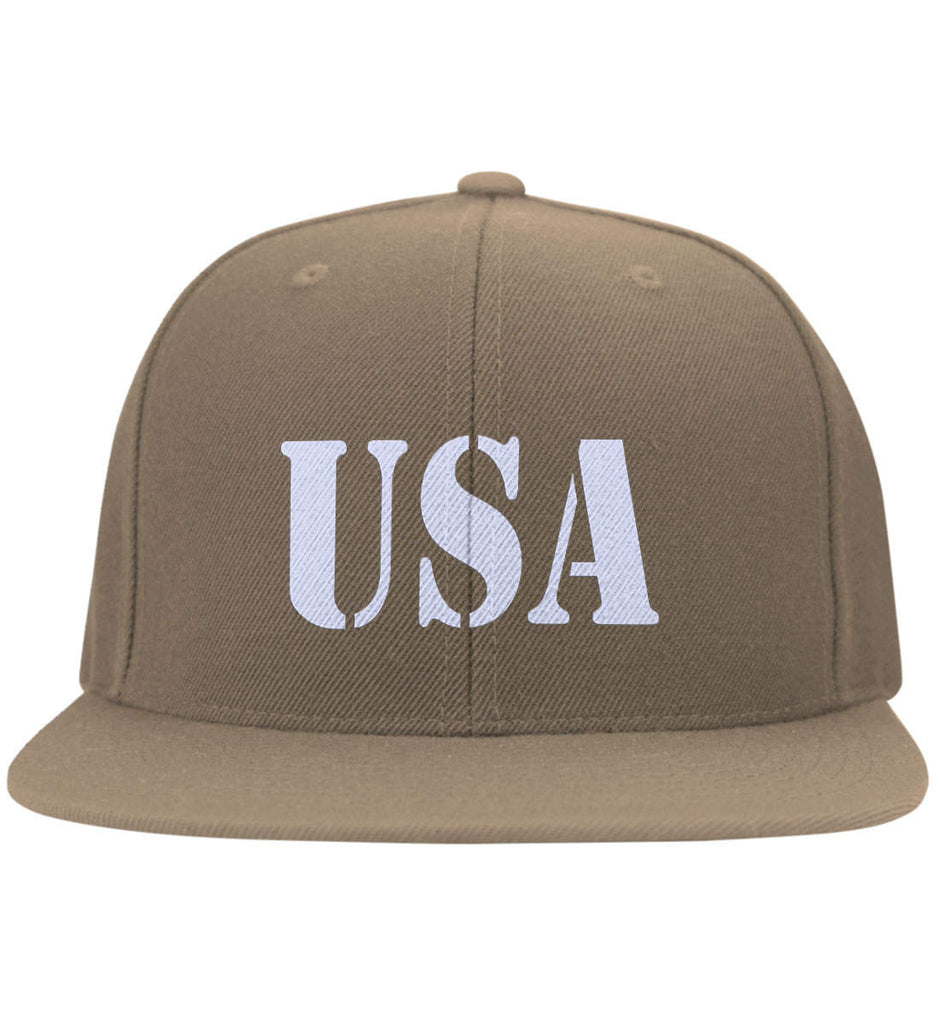 64102590 (Embroidered)-3 USA Patriot Hat Yupoong Flat Bill Twill Flexfit Cap.