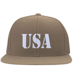 USA Patriot Hat Yupoong Flat Bill Twill Flexfit Cap. (Embroidered)