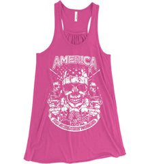 America. 2nd Amendment Patriots. White Print. Women's: Bella + Canvas Flowy Racerback Tank.