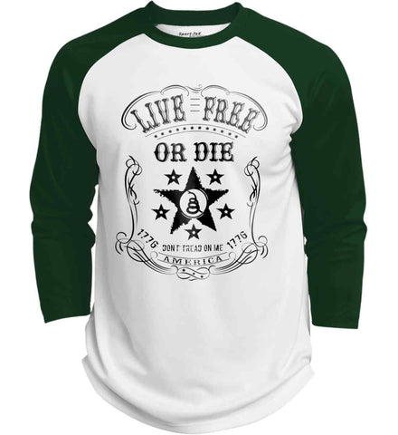 Live Free or Die. Don't Tread on Me. 1776. Black Print. Sport-Tek Polyester Game Baseball Jersey.