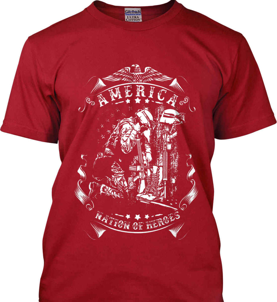 America A Nation of Heroes. Kneeling Soldier. White Print. Gildan Ultra Cotton T-Shirt.-1