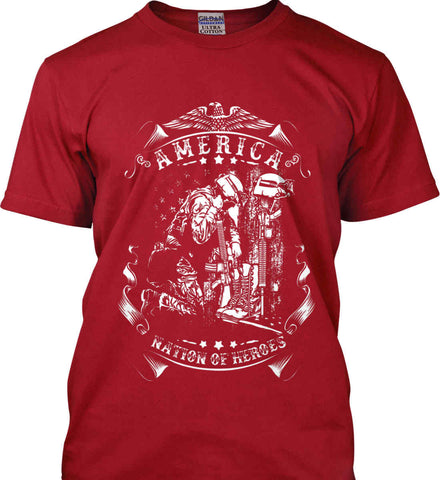 America A Nation of Heroes. Kneeling Soldier. White Print. Gildan Ultra Cotton T-Shirt.