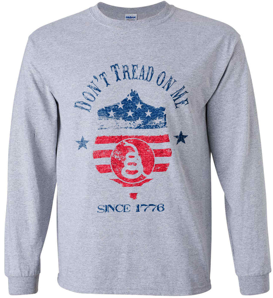 Don't Tread on Me. Snake on Shield. Red, White and Blue. Gildan Ultra Cotton Long Sleeve Shirt.-2