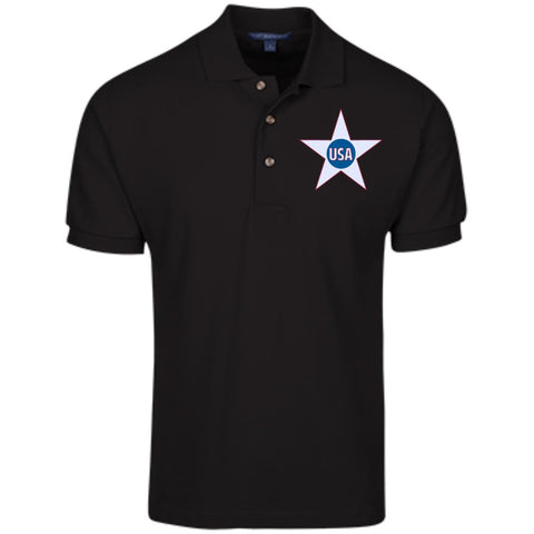 USA. Inside Star. Red, White and Blue. Port Authority Cotton Pique Knit Polo. (Embroidered)