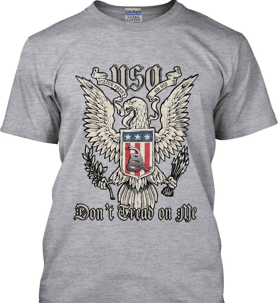 Don't Tread on Me. Eagle with Shield and Rattlesnake. Gildan Tall Ultra Cotton T-Shirt.-1