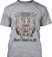 Don't Tread on Me. Eagle with Shield and Rattlesnake. Gildan Tall Ultra Cotton T-Shirt.