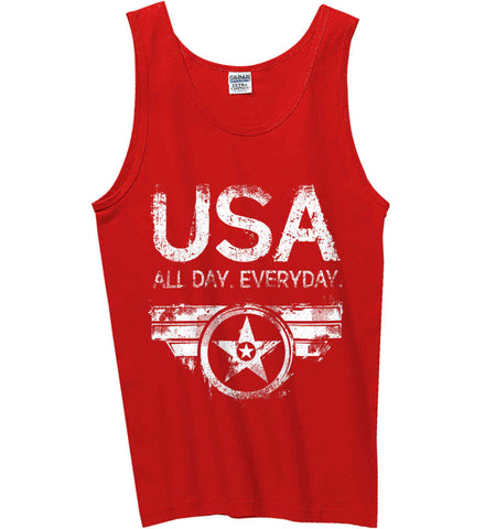 USA All Day Everyday. White Print. Gildan 100% Cotton Tank Top.