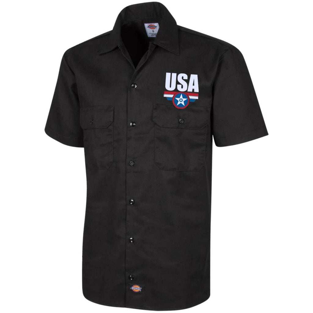 USA. Star-Shield. Red, White, Blue. Dickies Men's Short Sleeve Workshirt. (Embroidered)-2