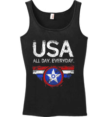 USA All Day Everyday. Women's: Anvil Ladies' 100% Ringspun Cotton Tank Top.