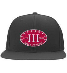 Three Percenter. Live Free. Hat. Yupoong Flat Bill Twill Flexfit Cap. (Embroidered)