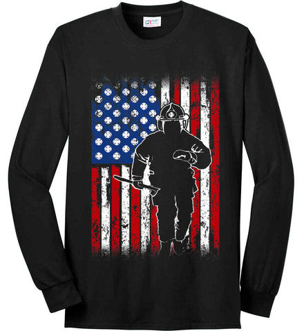 Firefighter American Flag. Port & Co. Long Sleeve Shirt. Made in the USA..