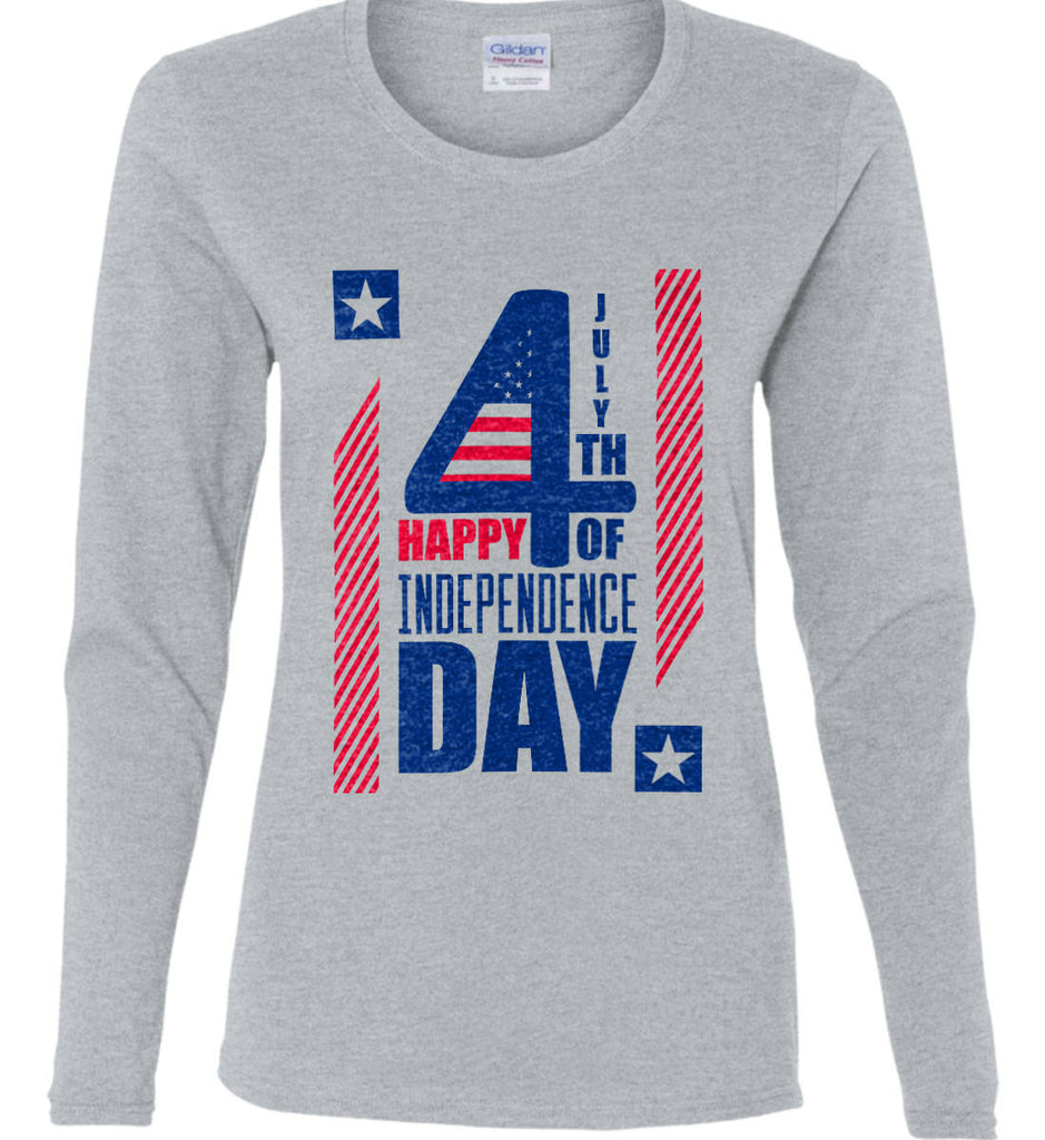 4th of July with Stars and Stripes. Women's: Gildan Ladies Cotton Long Sleeve Shirt.-3