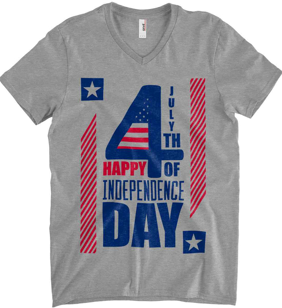 4th of July with Stars and Stripes. Anvil Men's Printed V-Neck T-Shirt.-1
