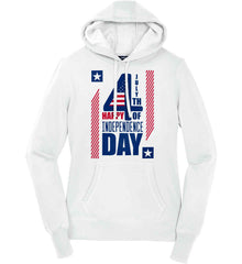 4th of July with Stars and Stripes. Women's: Sport-Tek Ladies Pullover Hooded Sweatshirt.