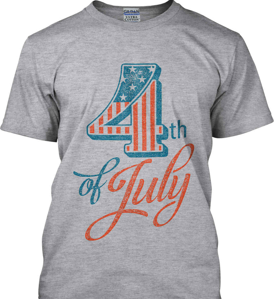 4th of July. Faded Grunge. Gildan Ultra Cotton T-Shirt.-4