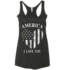 America I Love You White Print. Women's: Next Level Ladies Ideal Racerback Tank.