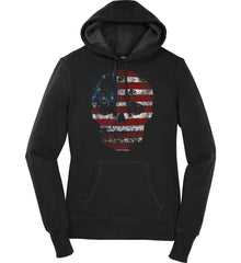 American Skull. Red, White and Blue. Women's: Sport-Tek Ladies Pullover Hooded Sweatshirt.