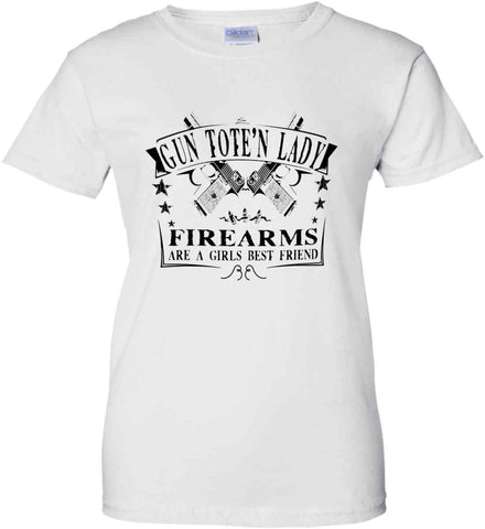Gun Toten Lady. Firearms are a girls best friend. Womens Second Amendment. Black Print. Women's: Gildan Ladies' 100% Cotton T-Shirt.