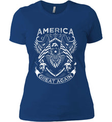 America. Great Again. White Print. Women's: Next Level Ladies' Boyfriend (Girly) T-Shirt.