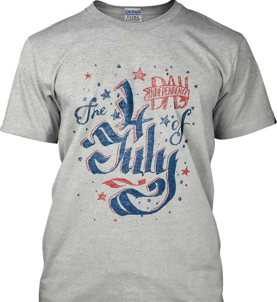 The 4th of July. Ribbon Script. Gildan Ultra Cotton T-Shirt.-2