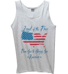 Land of the Free. From sea to shining sea. Gildan 100% Cotton Tank Top.