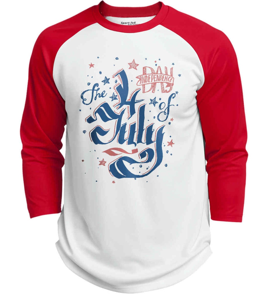 The 4th of July. Ribbon Script. Sport-Tek Polyester Game Baseball Jersey.-6