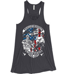 Airborne Division. United States. Women's: Bella + Canvas Flowy Racerback Tank.