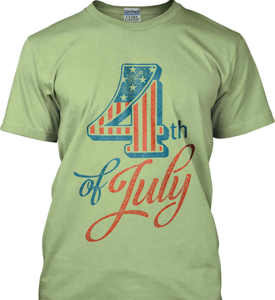 4th of July. Faded Grunge. Gildan Ultra Cotton T-Shirt.-7