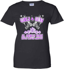 Girls and Guns. All American Woman. Live Love Shoot. Purple Print. Women's: Gildan Ladies' 100% Cotton T-Shirt.
