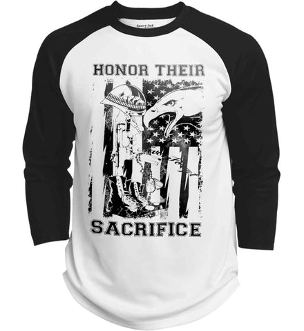 Honor Their Sacrifice - Fallen Soldier. Black Print. Sport-Tek Polyester Game Baseball Jersey.