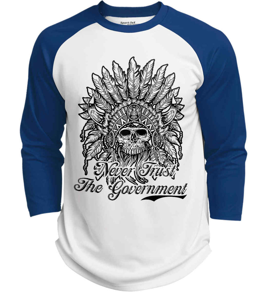 Skeleton Indian. Never Trust the Government. Sport-Tek Polyester Game Baseball Jersey.-7
