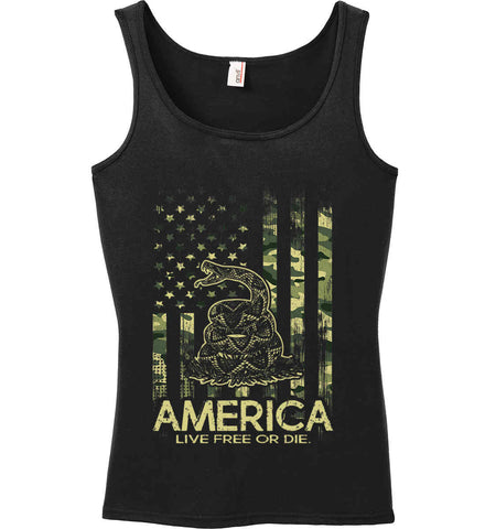 America. Live Free or Die. Don't Tread on Me. Camo. Women's: Anvil Ladies' 100% Ringspun Cotton Tank Top.