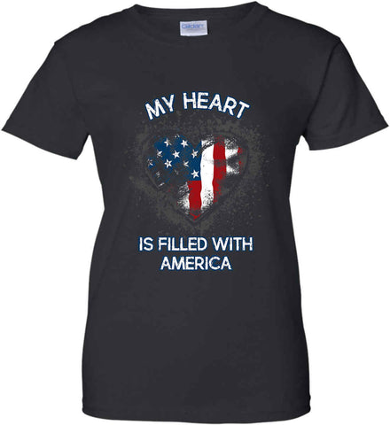 My Heart Is Filled With America. Women's: Gildan Ladies' 100% Cotton T-Shirt.