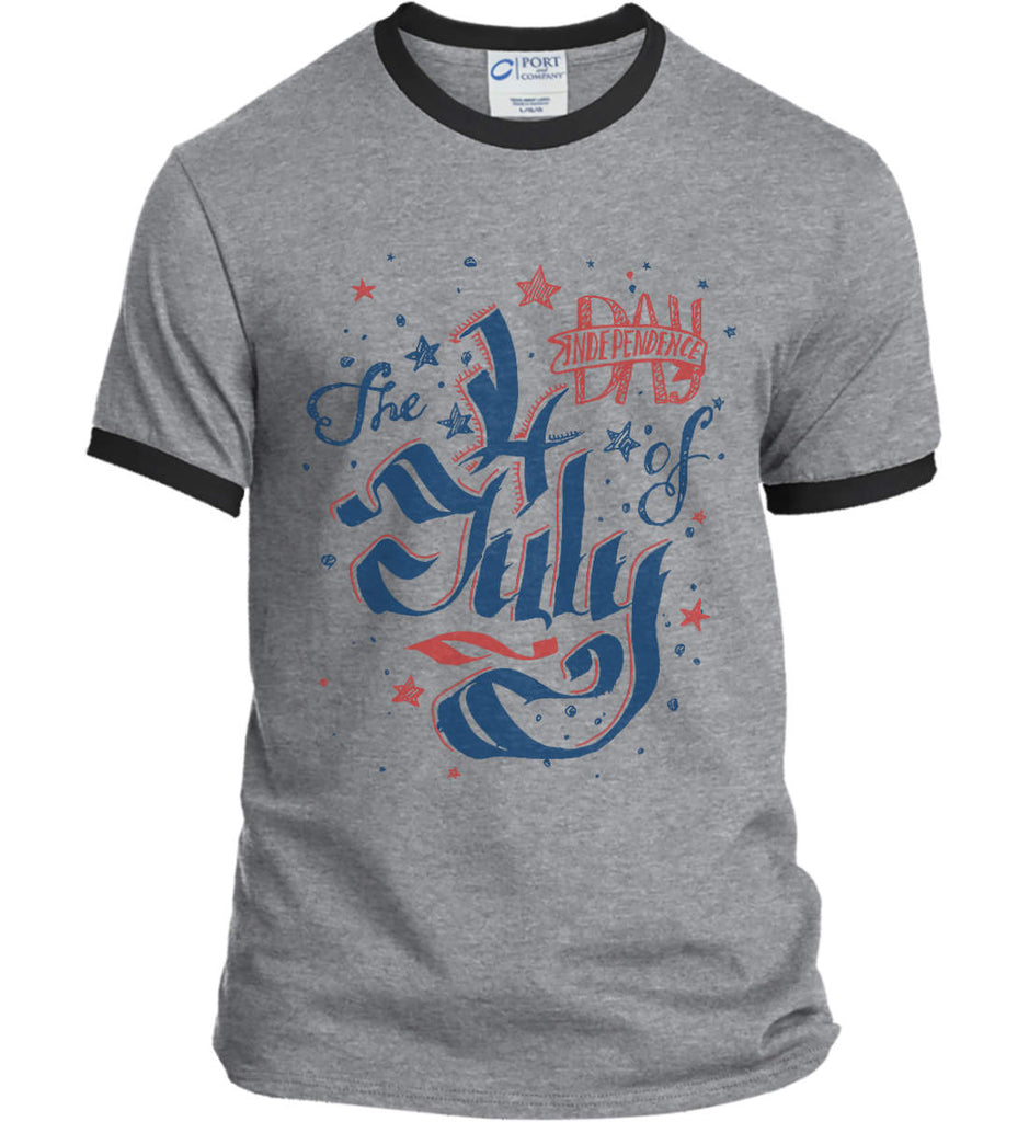 The 4th of July. Ribbon Script. Port and Company Ringer Tee.-1