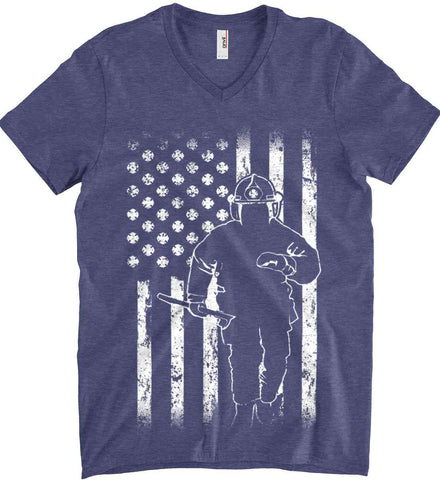 Firefighter American Flag. White Print. Anvil Men's Printed V-Neck T-Shirt.