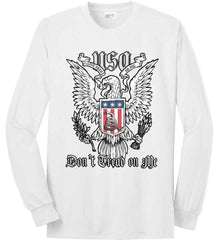 Don't Tread on Me. Eagle with Shield and Rattlesnake. Port & Co. Long Sleeve Shirt. Made in the USA..