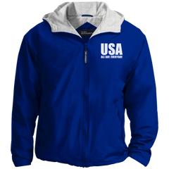 USA. All Day. Everyday. White Text. Port Authority Team Jacket. (Embroidered)