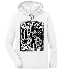 American Patriot - Flag/Rider. Black Print. Anvil Long Sleeve T-Shirt Hoodie.