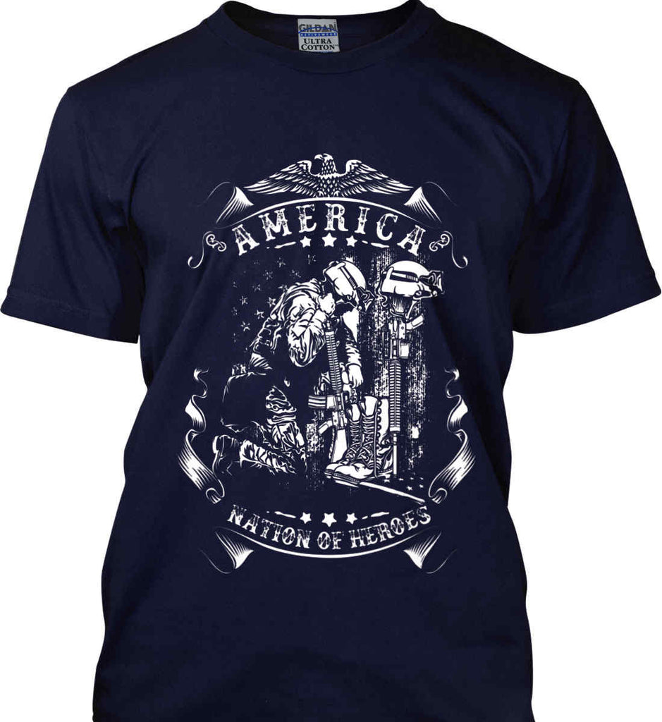 America A Nation of Heroes. Kneeling Soldier. White Print. Gildan Ultra Cotton T-Shirt.-8