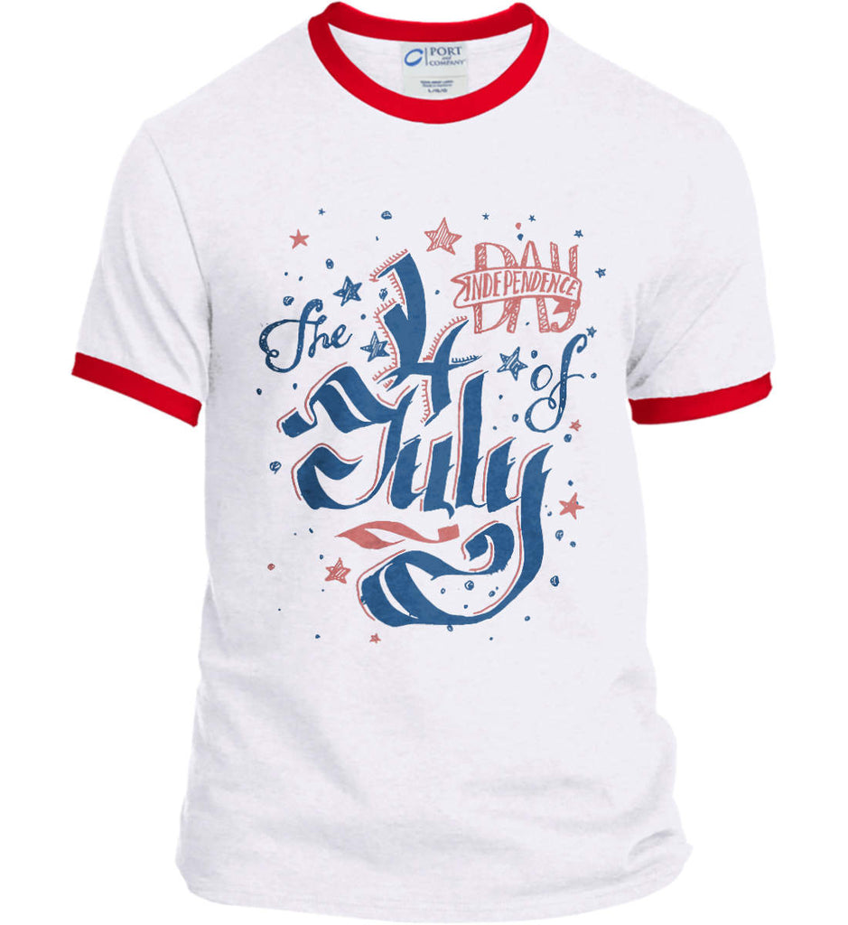 The 4th of July. Ribbon Script. Port and Company Ringer Tee.-4