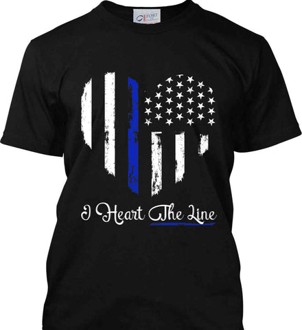I Heart the Blue Line. Pro-Police. Port & Co. Made in the USA T-Shirt.