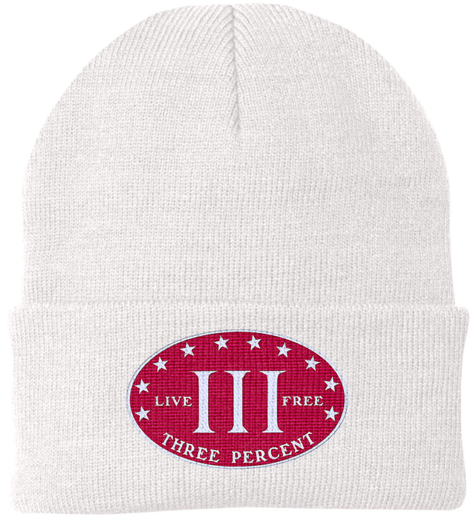 Three Percenter. Live Free. Hat. Port Authority Knit Cap. (Embroidered)-2