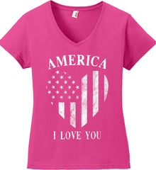 America I Love You White Print. Women's: Anvil Ladies' V-Neck T-Shirt.